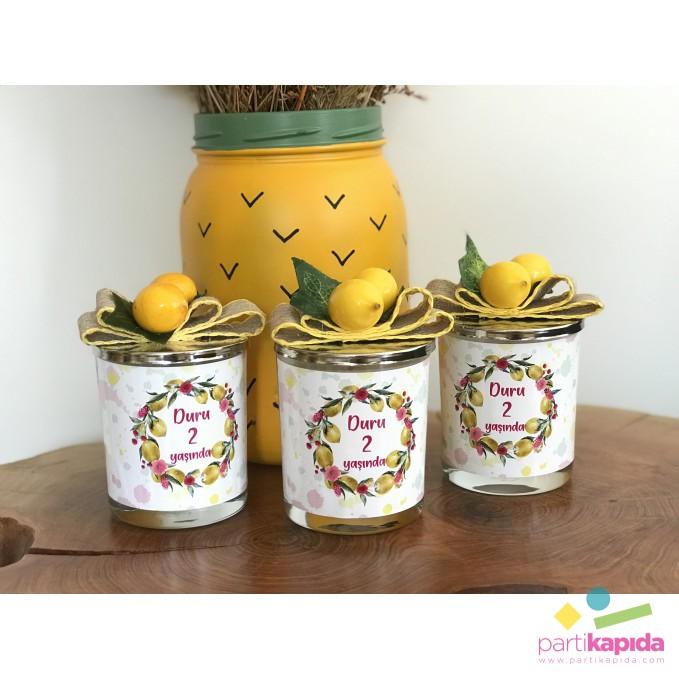 Limon Temalı Bardak Mum