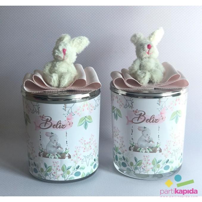 Bahar ve Tavşan Temalı Bardak Mum